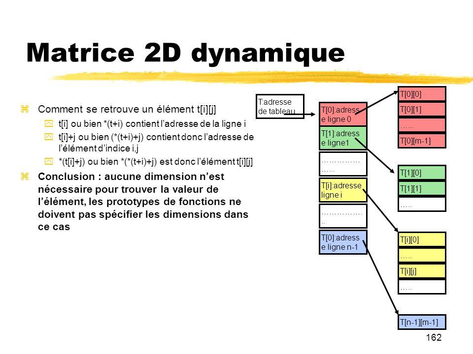 Matrice 2D dynamique Comment se retrouve un élément t[i][j]